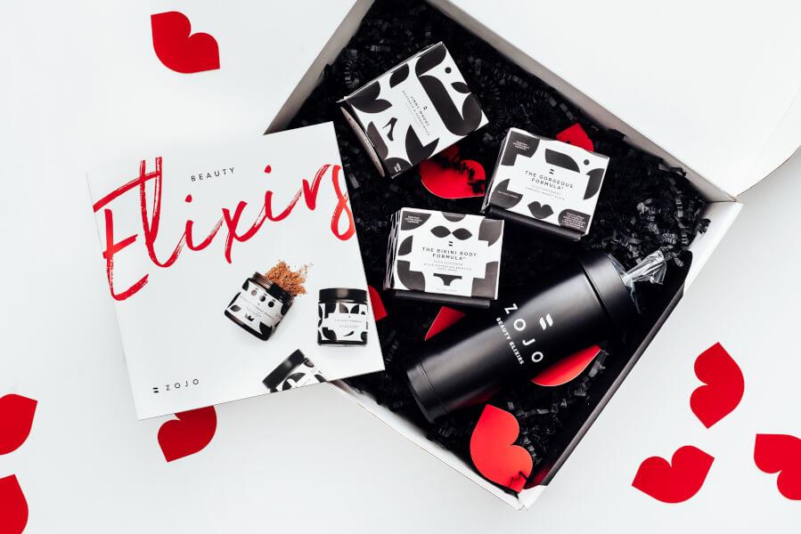 packaging of zojo beauty elixirs