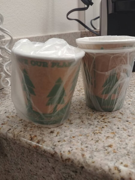 recycled cups in plastic bags