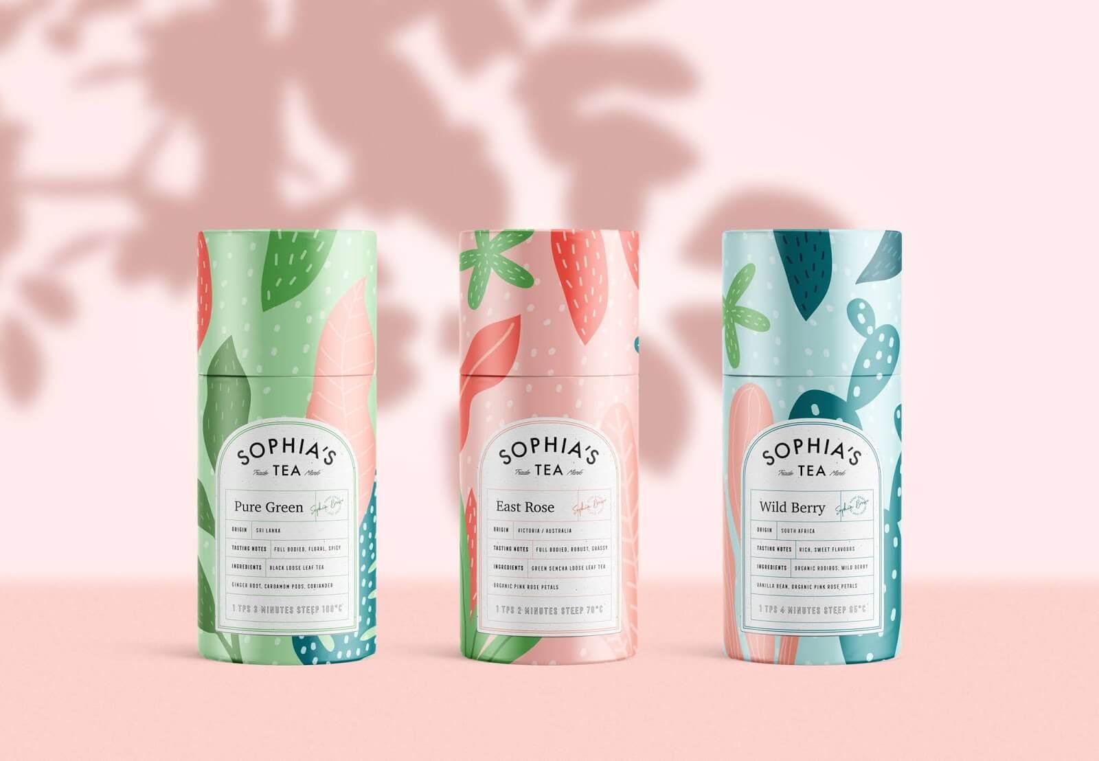 sophia's tea packaging design