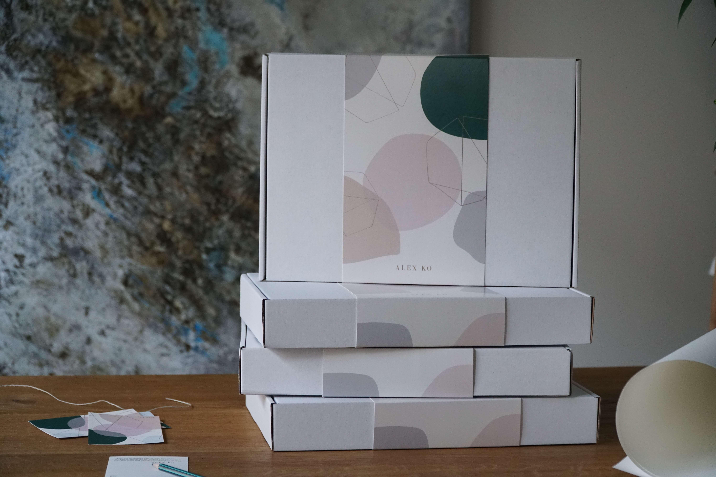 cardboard box with a sleeve by alex ko fashion brand